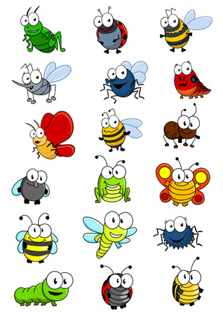 Cartooned insects set with bee, wasp, hornet, caterpilllar, grashopper, ladybug, fly, worm, butterfly, dragonfly, ant, spider and bug Illustration