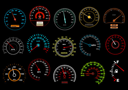 Car speedometers on black background for transportation, racing or another design