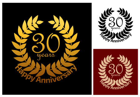 30 years: 30 Years Anniversary jubilee wreath in three variations