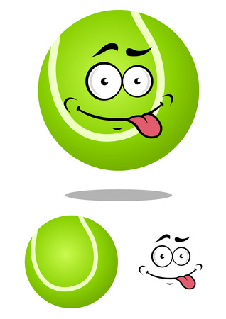 backhand: Green cartoon tennis ball with smiling face and tongue out on white background for sports mascot design Illustration