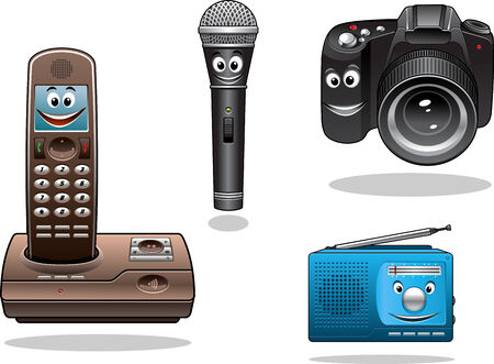 outmoded: Gadgets and devices in cartoon style. Camera, radio, microphone and hand free phone Illustration