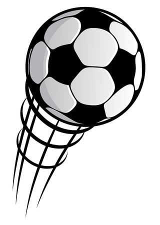 Close up cartooned flying soccer ball with motion trails for sports design isolated on white Illustration