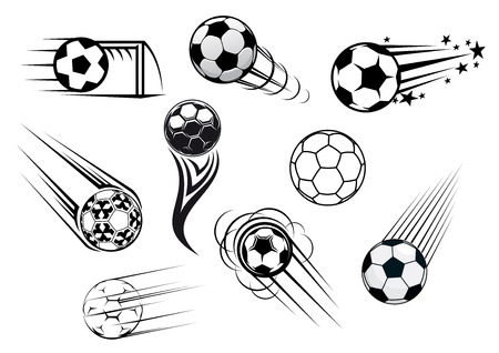 Flying soccer and football balls with motions trails for sports club or tournament  design Ilustração
