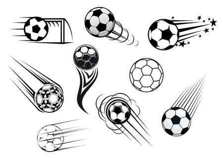 Vliegende voetbal en voetbal ballen met moties paden voor sportclub of toernooi ontwerp