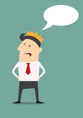 Cartooned businessman with golden crown and speech bubble. flat vector illustration Vector