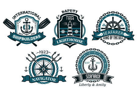 Nautical badges and emblems set in heraldic style with anchors, lighthouse, steering wheel, chains, trident, oar and ropes