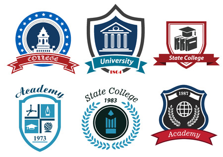 University, college and academy heraldic emblems with shields, buildings, wreaths, ribbons and education elements