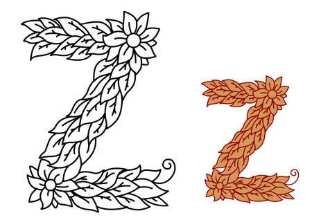 foliate: Uppercase letter Z in a foliate font with leaves and flower isolated on white, vector illustration Illustration