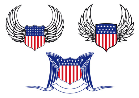 federal: American shields with angel wings for tattoo and heraldry design