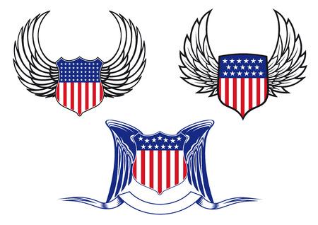 angel de la independencia: Escudos americanos con alas de �ngel para el tatuaje y la her�ldica de dise�o Vectores