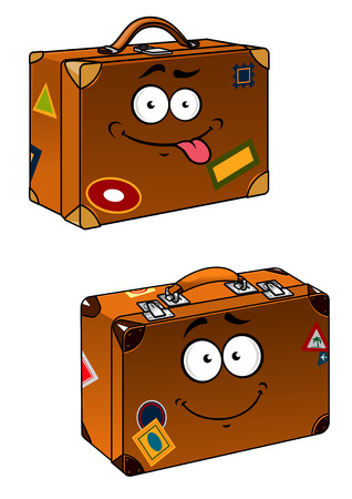 tourism industry: Cartoon brown travel briefcases with smiling face and stickers for tourism industry design