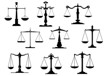 justice scales: Black law scale icons with balance position isolated on white background Illustration