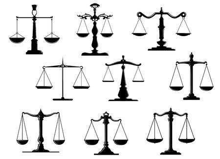 balanza justicia: Iconos escala ley negros con posici�n equilibrio aisladas sobre fondo blanco