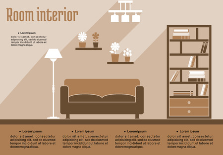 living room design: Brown living room interior in flat style for house interior design or infographic template Illustration