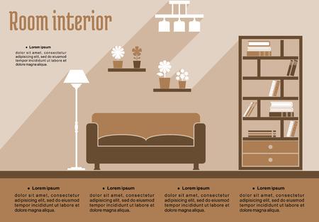 interior design living room: Brown living room interior in flat style for house interior design or infographic template Illustration
