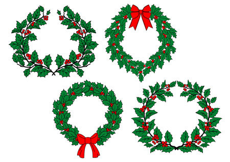 guirnaldas de navidad: Navidad tradicionales coronas de acebo establecidos con bayas rojas, arcos de la cinta aisladas sobre fondo blanco para la decoración de vacaciones de diseño