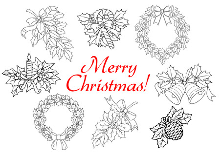 christmas holly: Christmas and New Year holly decorations with wreaths, candy, branches, bells, berries, bows, bump, candle in outline style