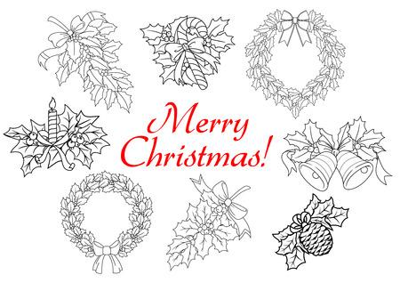 coronas de navidad: Navidad y Año Nuevo acebo decoraciones con guirnaldas, dulces, las ramas, las campanas, las bayas, arcos, chocan, vela en estilo de esquema