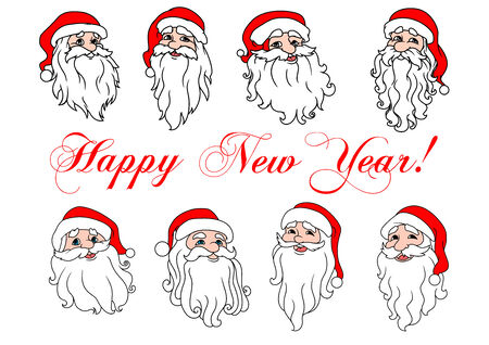 red beard: Set of Santa Claus laughing heads icons in cartoon style with traditional red hat, big white beard and greeting text Happy New Year