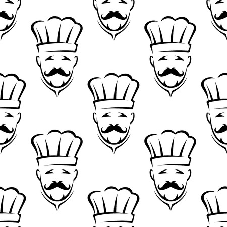 food backgrounds: Outline mustached chef or cook in traditional toque seamless pattern for restaurant, cooking or food backgrounds Illustration