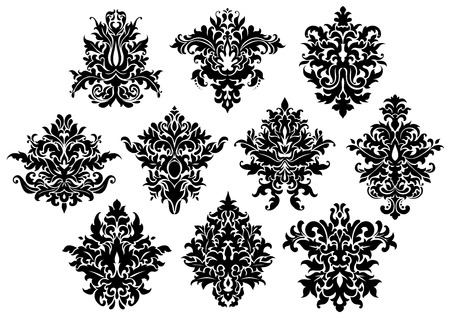 scroll shape: Abstract black floral design elements set in damask style isolated on white background Illustration