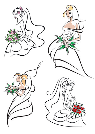 veils: Beautiful outline graceful young brides in wedding dresses and veils with flowers for wedding, bridal shop or invitations design Illustration