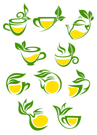 steam of a leaf: Stylized icons of herbal or green tea cups with lemon for beverage and cafe menu design