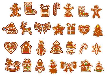 Les cookies collection Big Noël avec pain d'épice et biscuits chiffres de bonhomme de neige, coffrets cadeaux et chaussette, pain d'épice, les étoiles fioritures décorées de glaçure colorée isolé sur fond blanc Banque d'images - 34567690