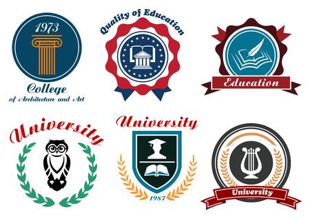 graduacion de universidad: Universidad y college emblemas o distintivos establecidos en estilo retro con b�ho, libros, pluma, casquillo de la graduaci�n ordenadas en escudo y c�rculo marcos con las cintas, estrellas y coronas de laurel