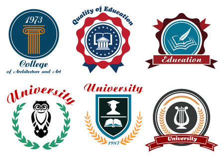 college building: University and college emblems or badges set in retro style with owl, books, feather, graduation cap ordered in shield and circle frames with ribbons, stars and laurel wreaths