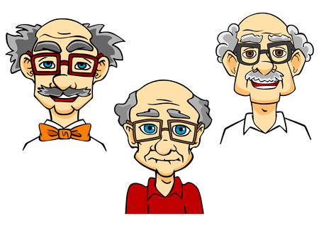 mustached: Portraits of joyful bald mustached cartooned seniors with glasses and bow tie isolated on white background