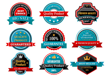 best price icon: Quality, guarantee, bestseller, best choice flat labels set for retail and sales design in retro style with ribbon banners and stars in frames