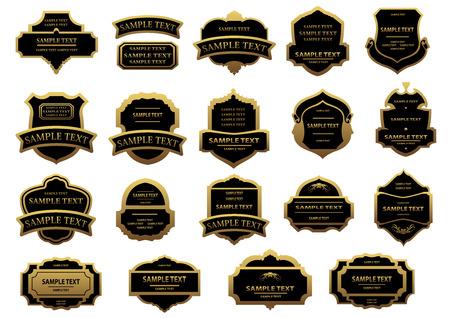 blank label: Gold and black vintage labels set with shields, ribbons, banners for heraldry, beverages bottle or food pack design Illustration