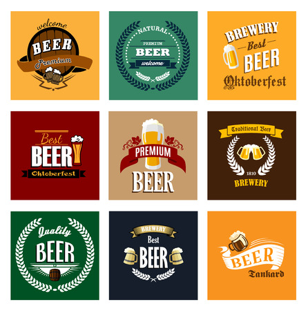 Premium, traditional, quality, best, natural beer and brewery banners and emblems in retro style with wooden kegs, big mugs, laurel wreaths and barley on vintage colors background