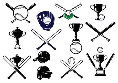 박쥐, 장갑, 공, 헬멧, 모자, 트로피와 스포츠 엠블럼과 디자인을위한 야구 스포츠 장비 요소 일러스트