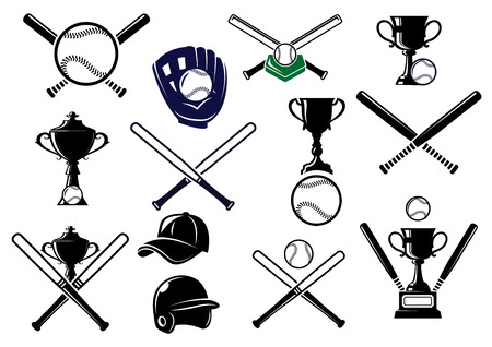 Baseball sports equipment elements for sport emblems and design with bats, gloves, balls, helmet, cap and trophies Vector