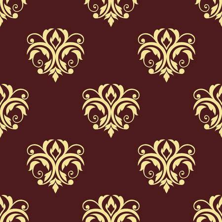 curlicue: Floral seamless tracery pattern in victorian style with abstract curlicue yellow flowers on maroon background for wallpaper and fabric design