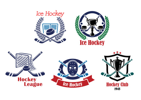 hockey: Ice hockey, hockey club and league emblems, badges, symbols with hockey equipment, trophy cup framed in a laurel wreath or heraldic shield on white background Illustration