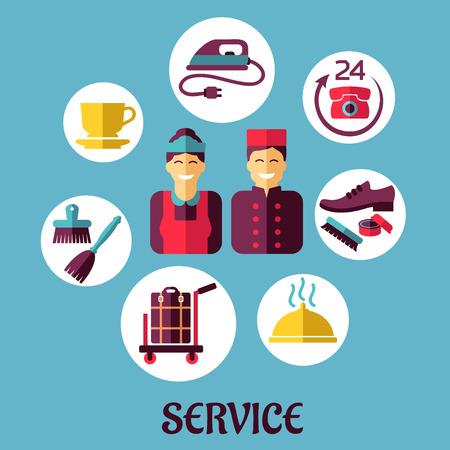 sirvienta: Dise�o de los iconos planos de servicios de hotel y de botones, limpieza y composici�n de los servicios de las habitaciones en el fondo azul