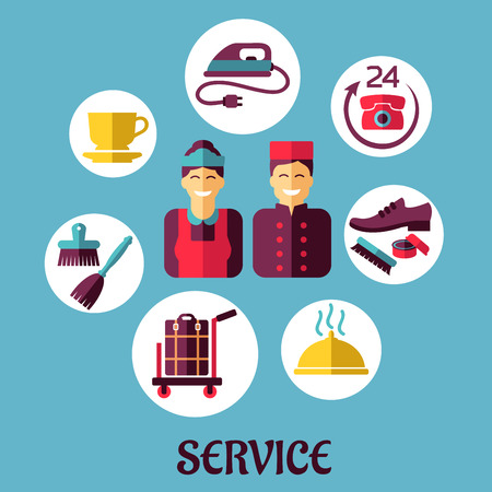 the maid: Flat icons design for hotel services with bell boy, maid and composition of room services on blue background