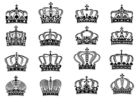 Set of medieval heraldic royal crowns set for heraldry design on white background