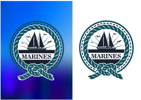 regatta: Yachting nautical emblem  for sport club or regatta tournament design with yacht or sailboat on horizon in sunlight enclosed in a circular rope border