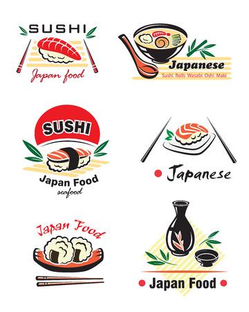 soy sauce: Japanese seafood set with sushi, rolls, sake, nigiri, fish, rice, soup, sauce, chopsticks on white background for restaurant menu design