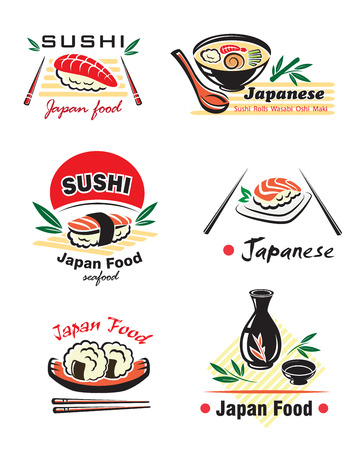 Japanse vis set met sushi, broodjes, sake, nigiri, vis, rijst, soep, saus, eetstokjes op een witte achtergrond voor restaurant menu ontwerp
