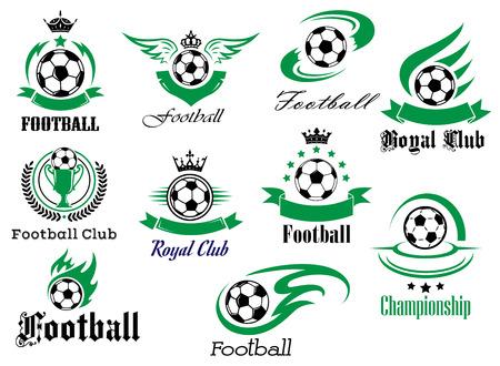 football match: Calcio o sport calcio emblemi araldici e simboli per Sport Club, design campionato con le palle, striscioni nastro, ali, trofeo, corone e stelle