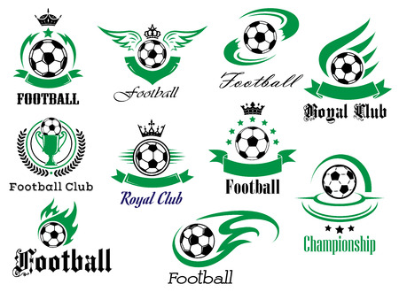 badge logo: Football or soccer sports heraldic emblems and symbols for sport club, championship design with balls, ribbon banners, wings, trophy, crowns and stars