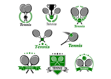 Tennis sporting emblems, banners  designs for sport club and tournament with rackets, balls, ribbon banners, trophy cup framed in laurel wreath, stars or shield Vector