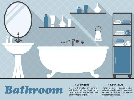 インフォ グラフィック デザインのための青と白の色で長い影とお風呂、ミラー、洗面台、棚および付属品のあるフラット スタイルのバスルームの