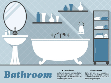 Bathroom interior in flat style  with bath, mirror, wash basin, shelf and accessories with long shadow in blue and white colors for infographics design Vector