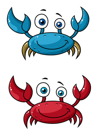 hardshell: Red and blue funny smiling cartoon crabs characters with raised claws isolated on white background Illustration